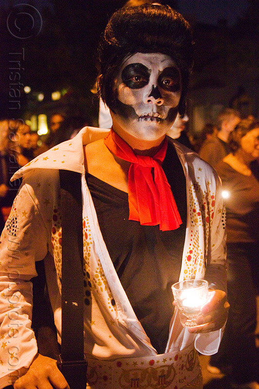 dead elvis - dia de los muertos - halloween (san francisco), candle, day of the dead, face painting, facepaint, makeup, man, night, people