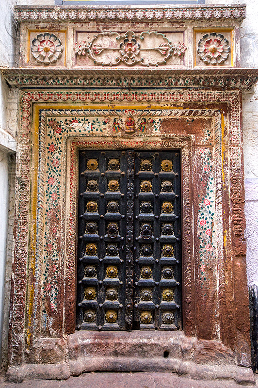 decorated door of old house (india), architecture, building, closed, decorated, decoration, door, gate, hostel, house, moldings, old, painted, painting, varanasi