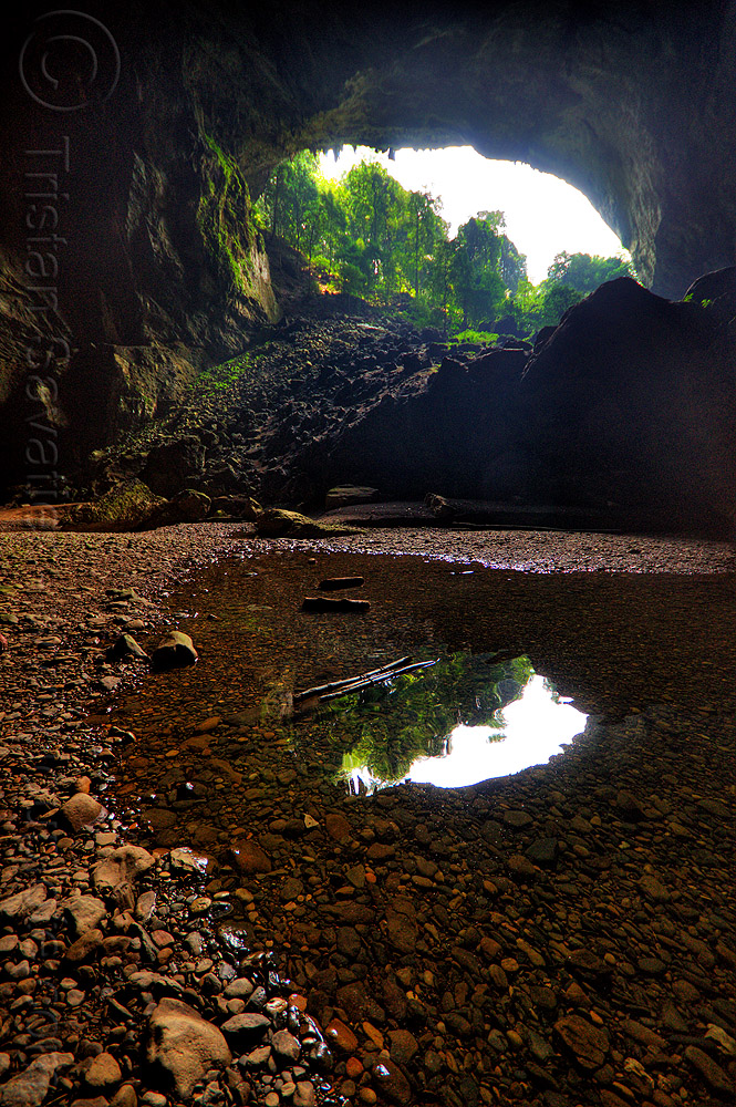 deer cave mouth at garden of eden - mulu (borneo), backlight, borneo, cave mouth, caving, deer cave, garden of eden, gunung mulu national park, jungle, malaysia, natural cave, pebbles, rain forest, spelunking, trees