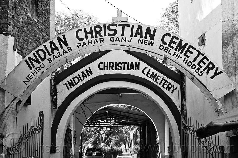 delhi's indian christian cemetery, arches, entrance, gate, paharganj, religion, signs
