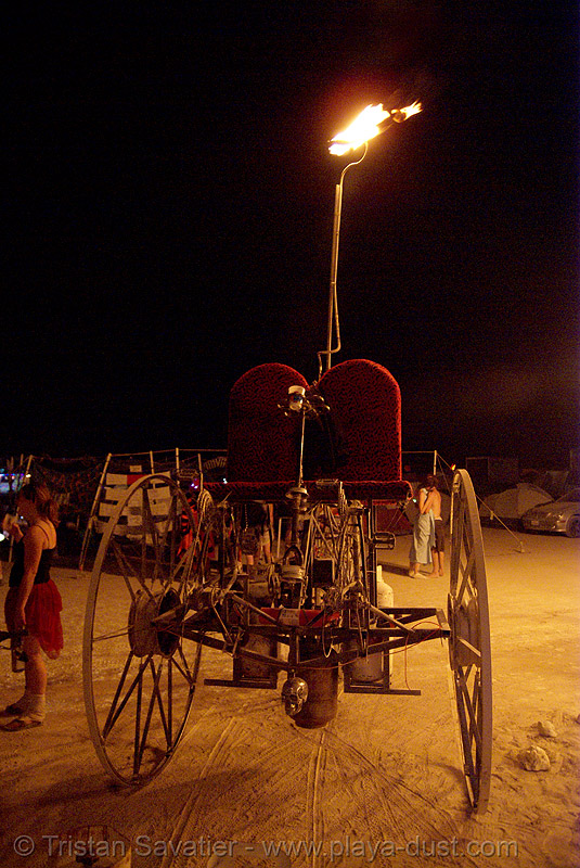 department of spontaneous combustion - burning man 2007, art car, dsc, fire, fire tricycle, fire trike, flames, night, three wheeler