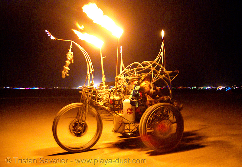department of spontaneous combustion - burning man 2007, art car, berzerker, burning man, department of spontaneous combustion, dsc, fire tricycle, fire trike, flames, night, three wheeler