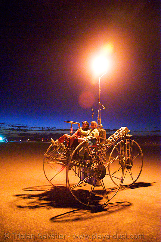 department of spontaneous combustion - burning man 2007, art car, burning man, department of spontaneous combustion, dsc, fire tricycle, fire trike, flames, night, three wheeler