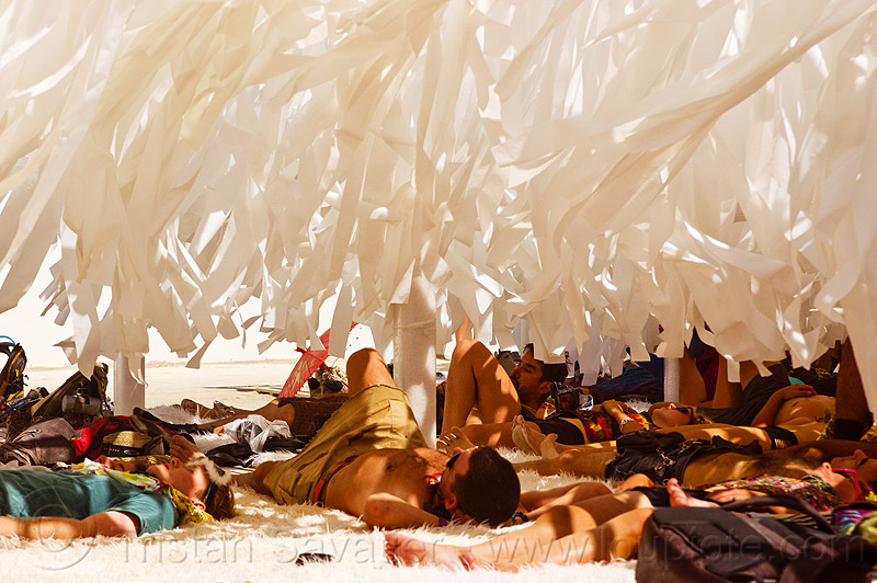 the desert forest - burning man 2013, art, art installation, lying down, napping, people, shade, the forest