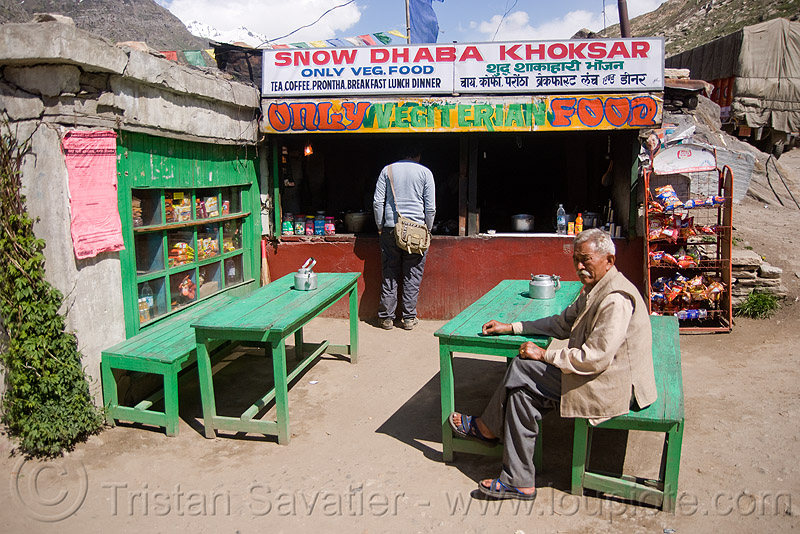 dhaba in khoksar - manali to leh road (india), benches, dhaba, india, khoksar, koksar, men, restaurant, sitting, tables