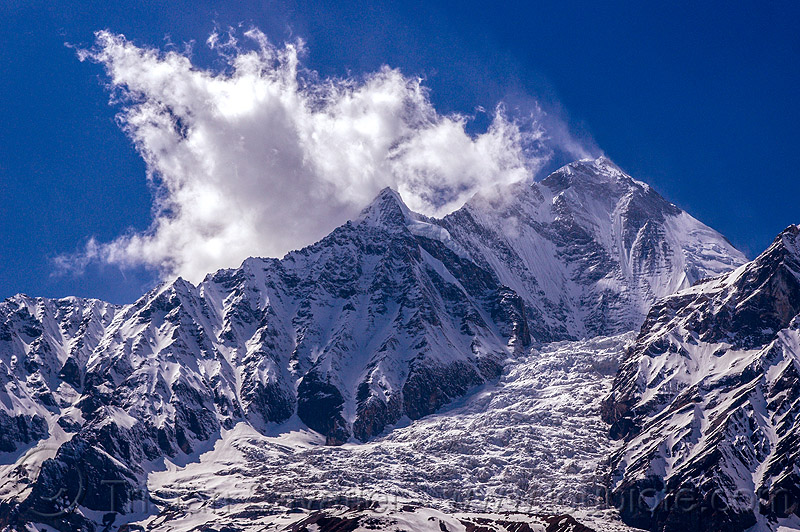 dhaulagiri peak and glacier - himalayas (nepal), annapurnas, cloud, dhaulagiri, glacier, kali gandaki valley, mountains, peak, snow