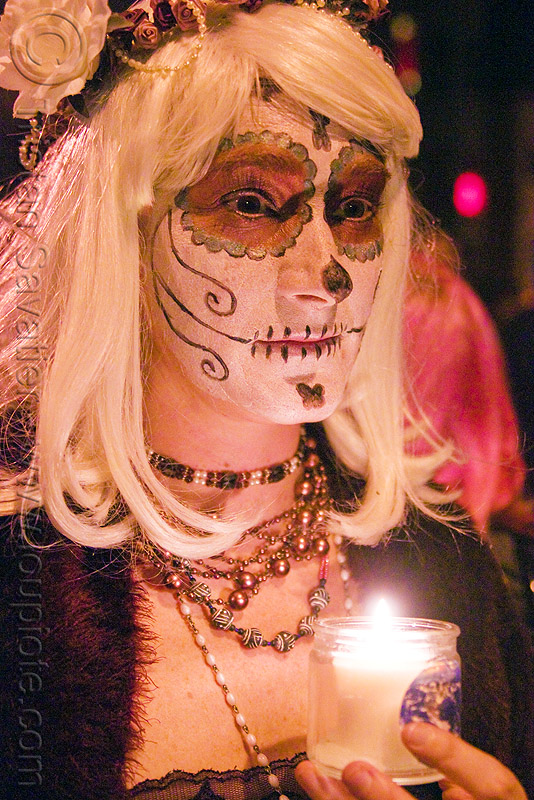 Día de los muertos face painting - halloween (san francisco), candle light, day of the dead, dia de los muertos, eve, face painting, facepaint, halloween, night, sugar skull makeup, woman