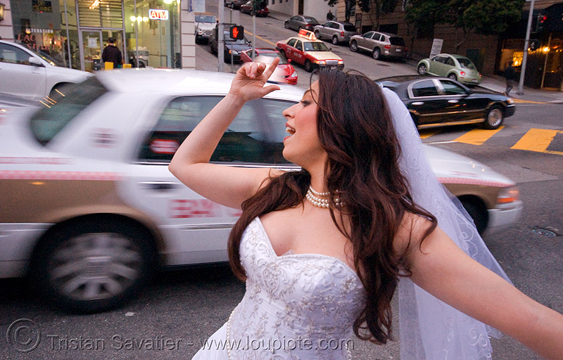 diana furka - brides of march (san francisco), festival, people, street, taxi cab, taxis, wedding, wedding dress, white, woman