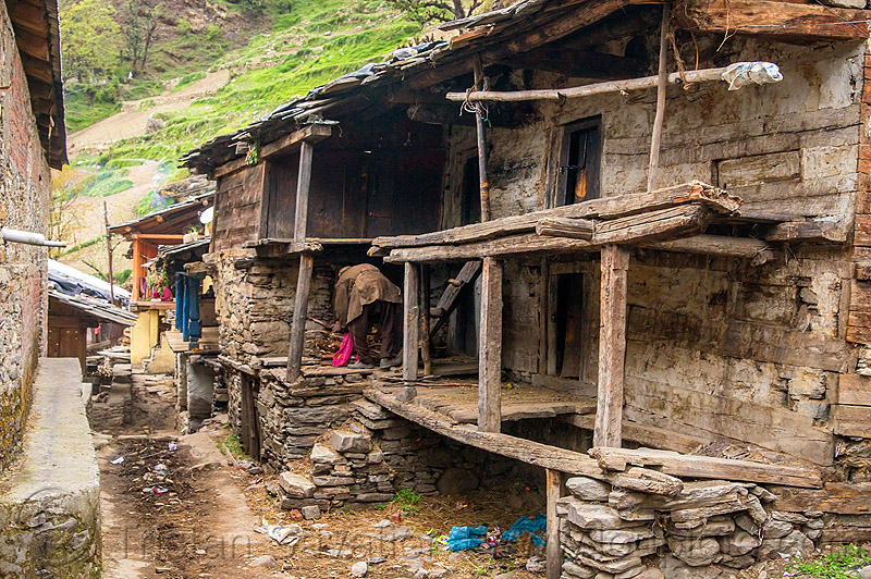 dilapidated house in himalayan village (india), house, india, janki chatti, man, village