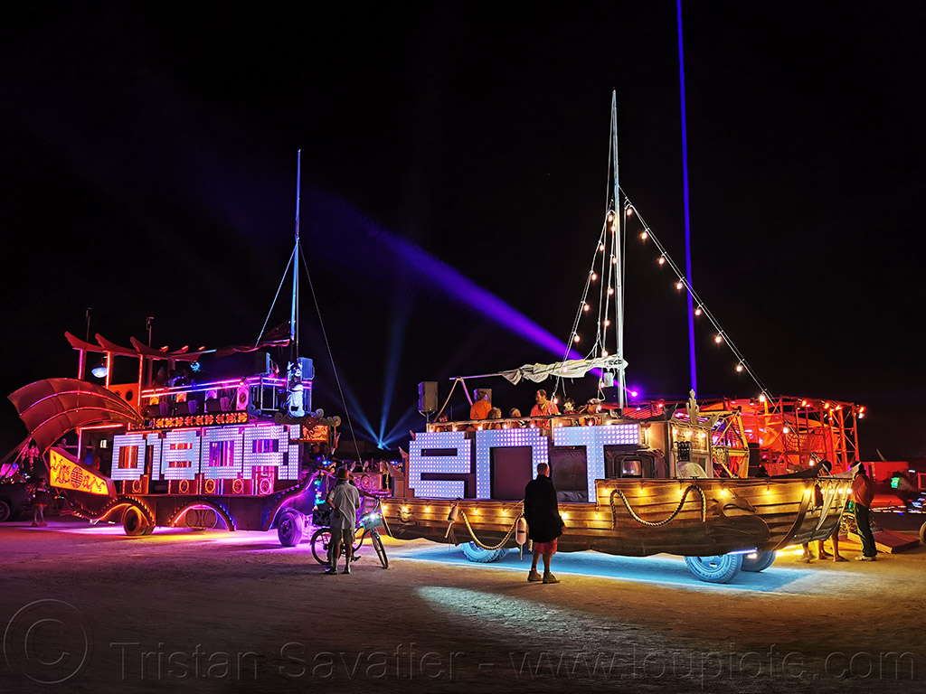 disorient art car - burning man 2019, burning man, disorient art car, mutant vehicles, night