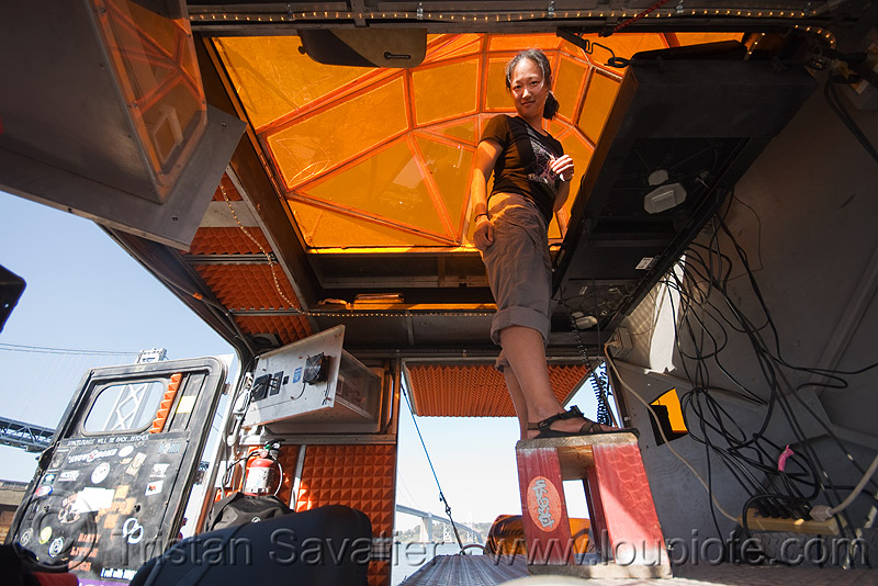 DJ jenny in the unimog - space cowboys (san francisco), dj, jenny, orange, ripe, space cowboys, unimog