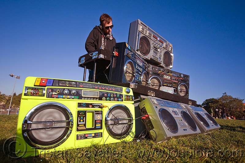 DJ playing music with boomboxes, boomboxes, dj, dolores park, ghettoblasters, lasonic, man, radio, stereo