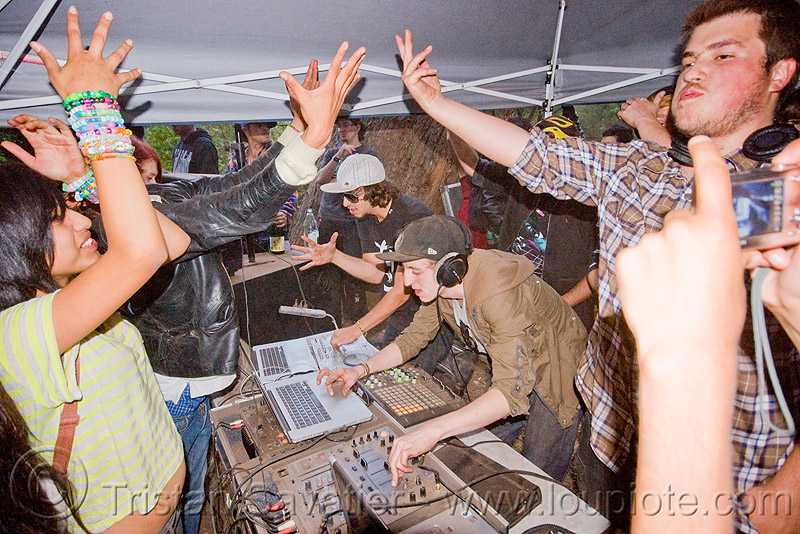 DJs at renegade free party, audio mixers, deejays, dj equipment, dj mixers, laptops, men, people, raver, sound, turn tables