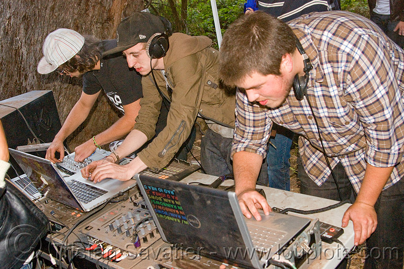 DJs at renegade party, audio mixers, deejays, dj equipment, dj mixers, djs, laptops, men, party, raver, sound, turn tables