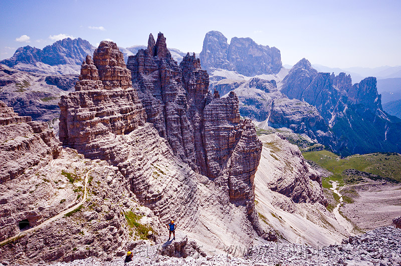 dolomites - view from monte paterno summit, alps, climbers, climbing harness, dolomites, montaineers, monte paterno, mountain climbing, mountaineer, mountaineering, mountains, parco naturale dolomiti di sesto, rock climbing, trail, via ferrata