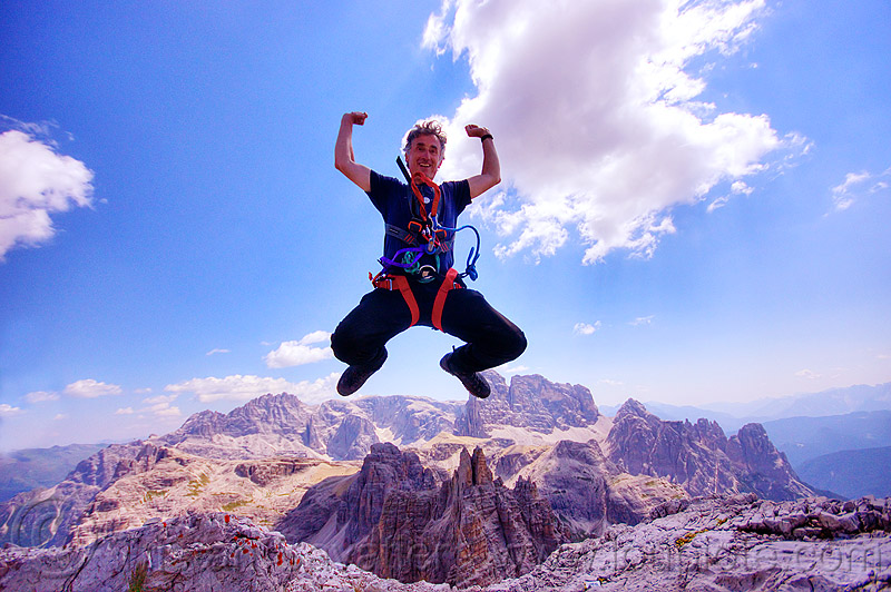 dolomiti - gruppo monzoni vallaccia, alps, blue sky, climbing harness, clouds, dolomites, jump, jumpshot, man, monte paterno, mountain climbing, mountaineer, mountaineering, mountains, parco naturale dolomiti di sesto, rock climbing, self-portrait, selfie, summit, via ferrata