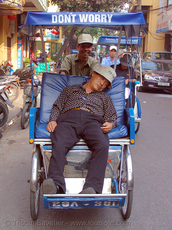 don't worry! - vietnam, cycle rickshaw, cyclo pousse, don't worry, hanoi, men, napping, sleeping, street, tired, tricycle