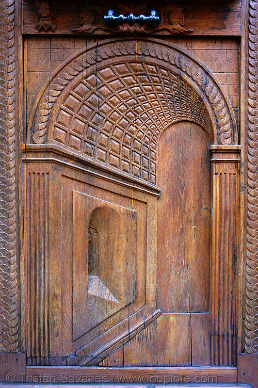 door in the door (paris, france), carved, closed, door, panel, paris, perspective, relief, trompe l'oeil, wood