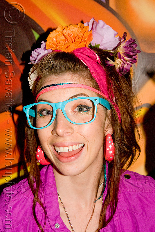 dorky girl, fashion, kandi kid, kandi raver, mural, nadia, oakland, painting, party, people, sand by the ton, woman