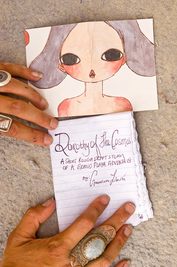 dorothy of the cosmos, page 0 of 11 - burning man 2013, burning man, dorothy of the cosmos, genevieve liberté, hands, handwriting, jewelry, page, paper, ring, short story, writing