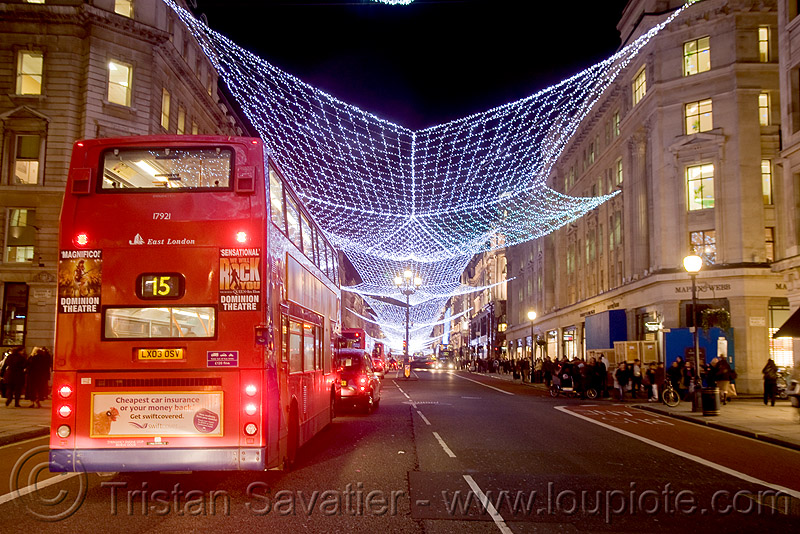double-decker bus (london), bristol vr, british bus, christmas decorations, christmas lights, double decker bus, double-decker, london bus, night, public transportation, red, street lights