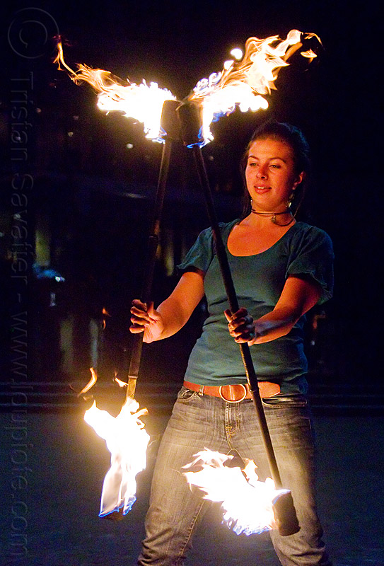 double fire staff, double staff, fire dancer, fire dancing, fire performer, fire spinning, fire staffs, fire staves, flames, night, people, savanna, spinning fire, woman