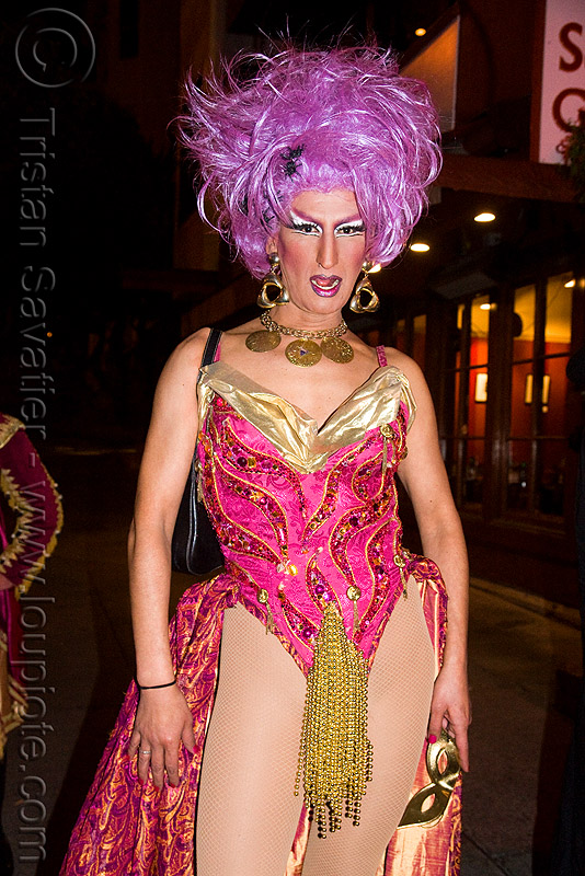 drag queen - halloween in the castro (san francisco), costume, crossdressing, drag queen, halloween, man, night, transvestite