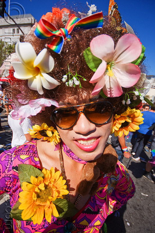 drag queen with flowers - gay pride festival (san francisco), drag queen, fake flowers, flowers headdress, gay pride festival, man, sunglasses, transvestite
