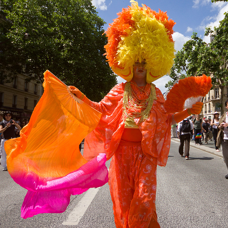 drag queen with orange color costume, colorful, costume, drag queen, gay pride, man, orange color, paris