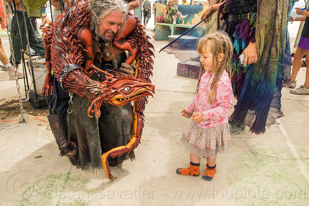 dragon puppet - little girl - burning man 2016, burning man, center camp, child, dragon, kid, little girl, puppet