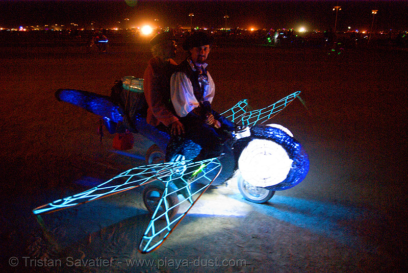 dragonfly mutant vehicle - burning man 2007, art car, burning man, dragon fly, mutant vehicles, night, packratt