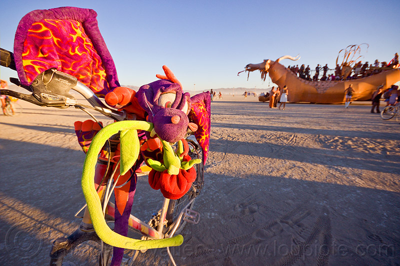 dragons - burning man 2012, abraxas, art car, bicycle, bike, burning man, decoration, golden dragon, rose, stuffed dragon
