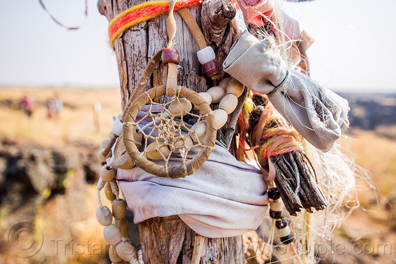 dream catcher - native american offerings on memorial stick - captain jack's stronghold, beads, captain jack's stronghold, cloth, dream catcher, indigenous, lava beds national monument, memorial, modoc, native american, offerings, pole, stick, tribal, wooden