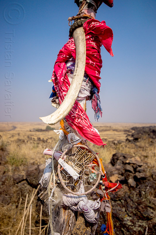 dream catcher - native american offerings on memorial stick - captain jack's stronghold, bandana, bone, captain jack's stronghold, cloth, dream catcher, indigenous, lava beds national monument, memorial, modoc, native american, offerings, pole, rib, stick, tribal, wooden