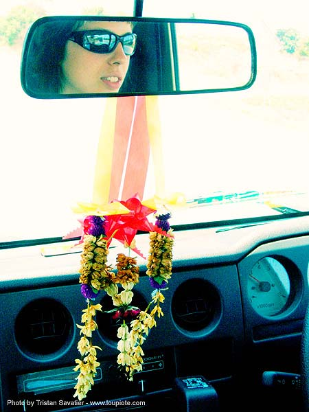 driving - anke-rega, anke rega, car, cross-processed, dashboard, dxpro, flowers, offering, rearview mirror, sunglasses, woman, ประเทศไทย