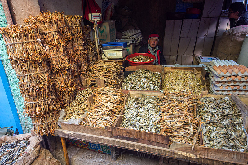 dry fish market - darjeeling (india), bundled, bundles, darjeeling, dried fish, dry fish, eggs, fishes, man, merchant, shop, stall, store, vendor