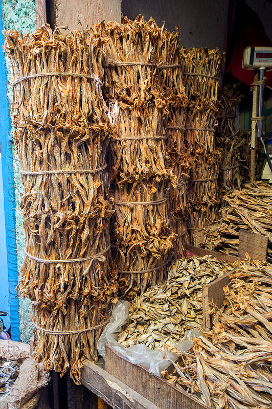 dry fish market (india), bundled, bundles, darjeeling, dried, dried fish, fishes, shop, stall, store