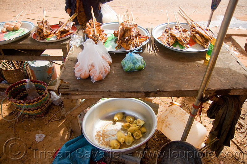 ducklings, eggs and ducks-on-a-stick (laos), baby ducks, birds, kebabs, people, poultry, street food, street market