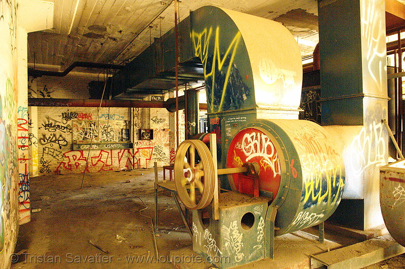 duct fan - air ducts - ventilation, abandoned, abandoned factory, air duct, derelict, graffiti, industrial, spinning, street art, tags, tie's warehouse, trespassing, wheel
