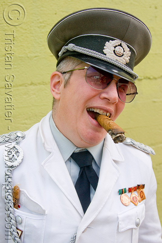 east german army officer costume, army, cigar, east german, military cap, military hat, officer, smoking, sunglasses, uniform, woman