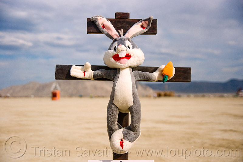 easter bunny on cross, animal cruelty, art, art installation, blasphemous, blasphemy, bugs bunny, burning man, carrot, christ, corpus, crucified, crucifix, jesus, jesus christ, nailed, plush, rabbit, religion, stuffed animal, stuffed bunny, stuffed rabbit, unidentified art