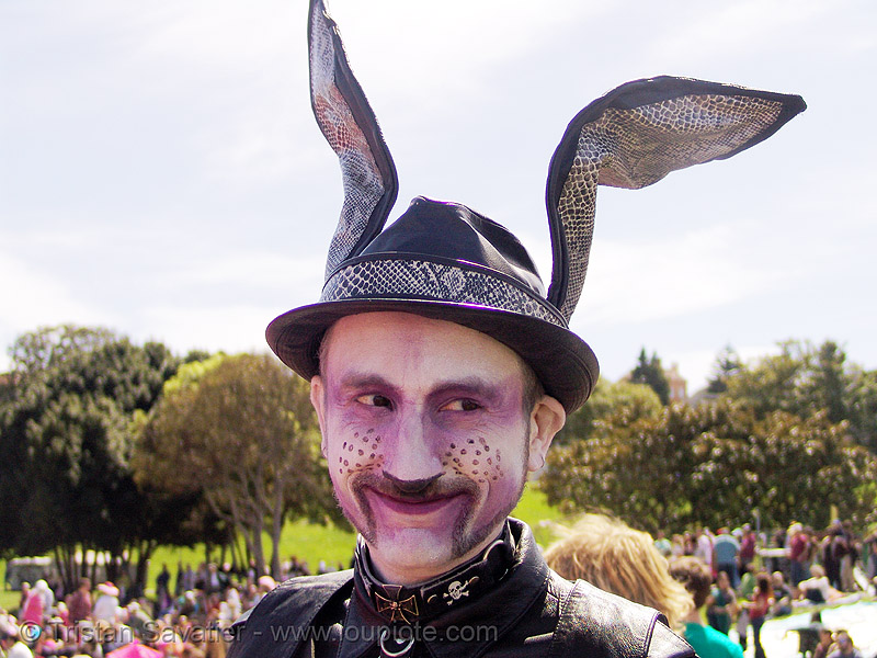 easter sunday in dolores park, san francisco, bunny ears, easter bunny, makeup, man, rabbit ears