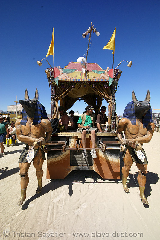 egyptian art car - anubis walks - burning man 2007, anubis, art car, burning man, egyptian, mutant vehicles