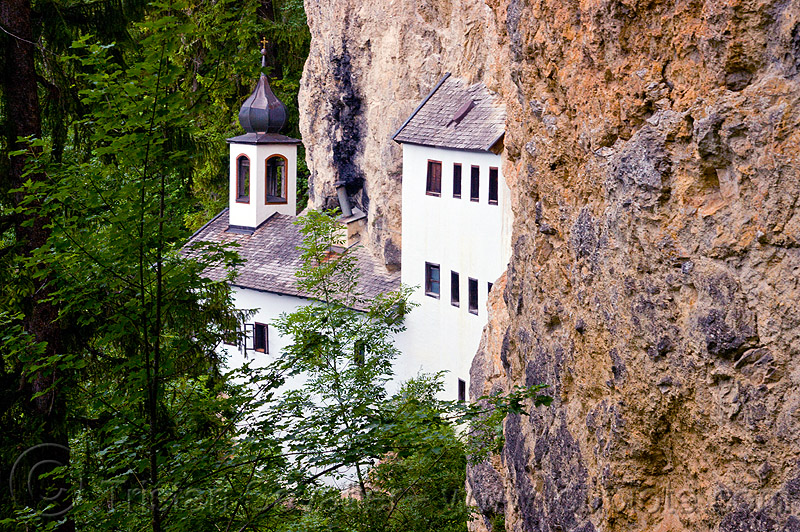 thorer kapelle - cave chapel - saalfelden, architecture, austria, austrian alps, cave church, cliff, einsiedelei, forest, hermitage, mountains, trees