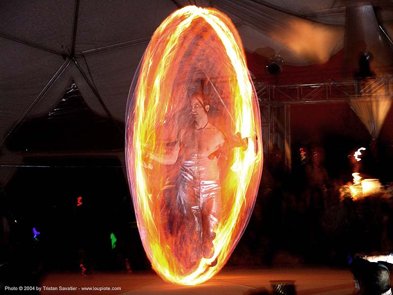 el circo - fire performer - burning-man 2004, art, burn, burning man, elcirco, fire dancer, fire dancing, fire jumping rope, fire rope, fire spinning, flame, long exposure, night, people, spinning fire
