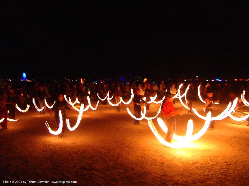 el circo - fire performers - burning-man 2004, art, burn, burning man, fire dancer, fire dancing, fire performer, fire poi, fire spinning, flames, long exposure, night, spinning fire