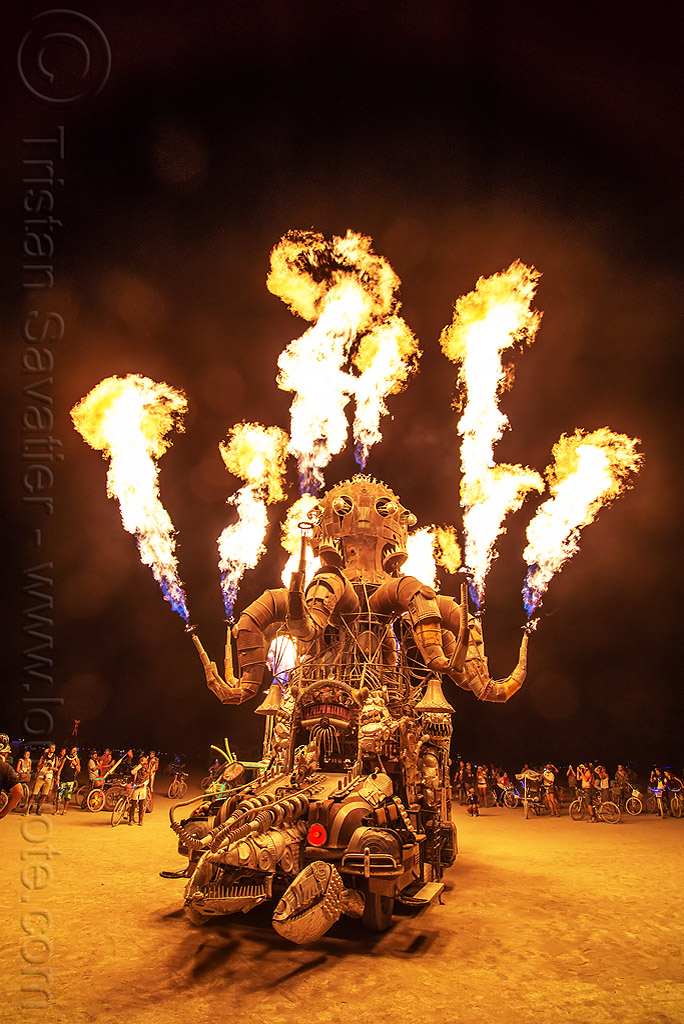 el pulpo mecanico - burning man 2016, burning man, el pulpo mecanico, fire, mutant vehicles, night, octopus art car, sculpture, steampunk octopus