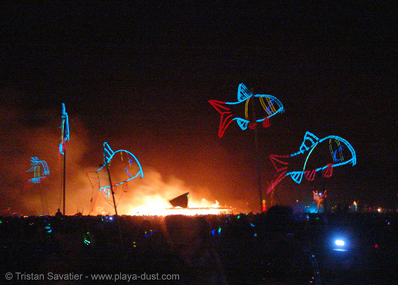 EL-wire fishes - burning-man 2005, art, burning man, electroluminescent wire, fire, flames, night