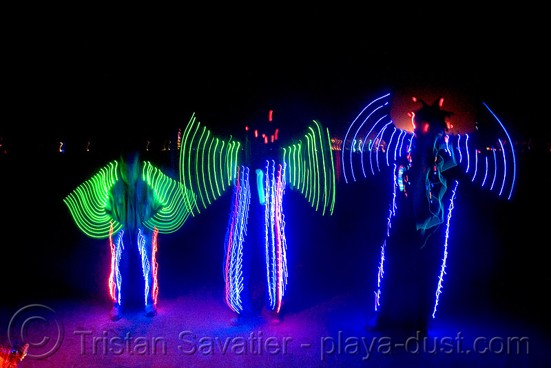 el-wire ghosts - burning man 2008, art, burning man, el-wire costumes, electroluminescent wire, night, three