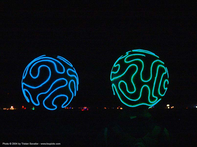 EL-wire hats - burning man 2004, brains, burning man, el-wire, electroluminescent wire, glowing, hats, night
